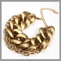 2014 New Fashion Gold Alloy Multilayer Women Chain Bracelets & Bangles Fashion Jewelry Thick Punk Bracelets Free Shipping