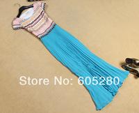 2014 new fashion model Free shipping best quality Light blue embroidered hem fold dress 4011