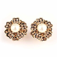 2014 New Style Women's Jewelry,Fashion Crystal Simulated Pearl Zinc Alloy Stud Earring with Gold Plated,Flower Earrings,ES-18