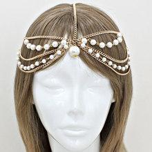 Bohemian Gold Pearl Multi Layer Head Chain Headpiece, Grecian head chain,  Harlow Style Gypsy head jewelry, Wedding Haad chain