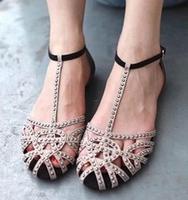 Flat sandals for women 2014 new arrivals cutout summer shoes sandals rhinestone fashion wedding sexy