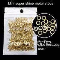 1000pcs/lot 4mm golden round shape metallic slice nail decoration, 3D nail decorations