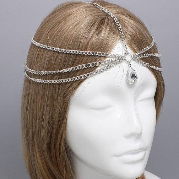 Silver Tear Drop Crystal Head Chain Headpiece, Grecian headchain, House Of Harlow Style Gypsy head jewelry Haadchain(China (Mainland))