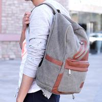 Trend double-shoulder canvas school bag casual laptop bag preppy style backpack