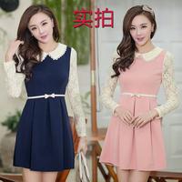 Korean Elegant Fashion Slim Princess Dress New 2014 Summer Spring Lace Long Sleeve Peter Pan Collar Tops Women's Casual Clothes