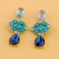 2014 Newest Fashion Crystal Gem Drop Ear Gold Piercing Turquoise Rhinestone Stud Earrings Jewelry For Women DEF-68
