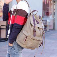 Large capacity backpack canvas backpack preppy style double-shoulder school bag outdoor travel bag