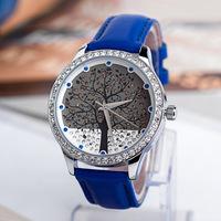 Free Shipping Brand Women  Dress Watches,Tree Model 5 Colors Lady Rhinestone Genuine Leather Strap Quartz Watch,Gift Wrist Watch