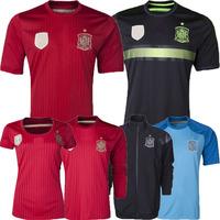 Embroidered Logo Fans Thailand Black Jersey Spain 2014 World Cup Spain Shirt 2014 Red Spain Soccer Jerseys Jacket Futbol Shorts