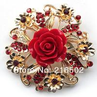 Free shipping lot of 6pcs resin flower brooch alloy brooch