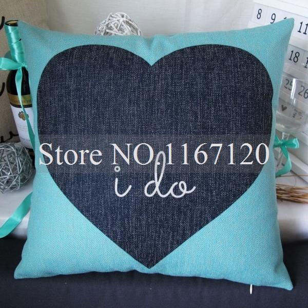 "Free Shipping,2pcs/lot Popular ""I do""Heart Shape Linen Cushion Cover Pillow Case 16"" x 16"" Home Sofa Decor(YM28-3)(China (Mainland))"