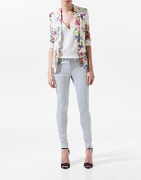 Autumn Top grade classic womens' floral print suits vogue Casual Blazer jacket flowers colorful cozy elegant slim outwear