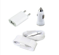 Free shipping High Quality Newest Home EU Standard AC Wall Charger + car charger + 2 X USB cable for iPhone 5 5S ipad 4 XC1024