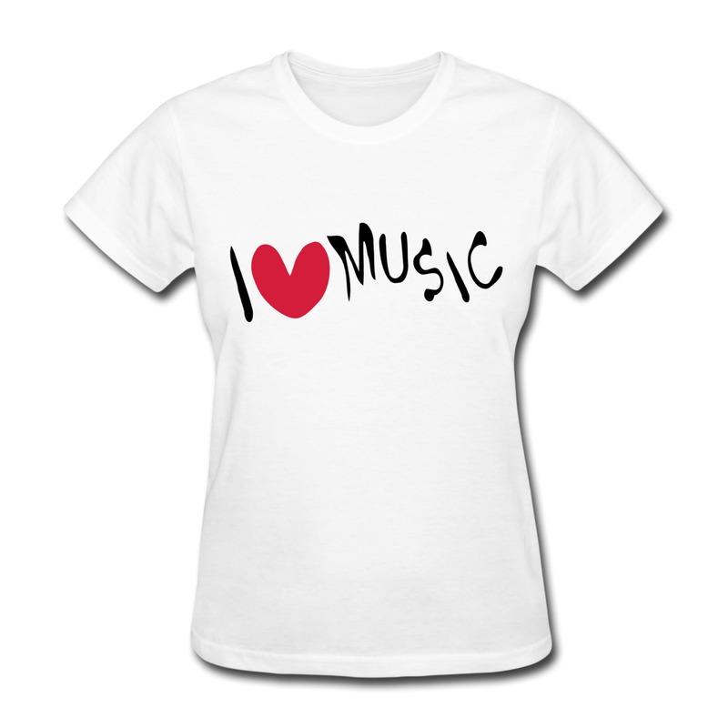 2014 Summer O-Neck Womens Tee I Heart Music Printing Funny Texts TShirts Womans(China (Mainland))