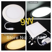 Free Shipping 9W LED Panel Light 2835 SMD Round Square Led Panel Light Cold White/Warm White Downlight Celling Light
