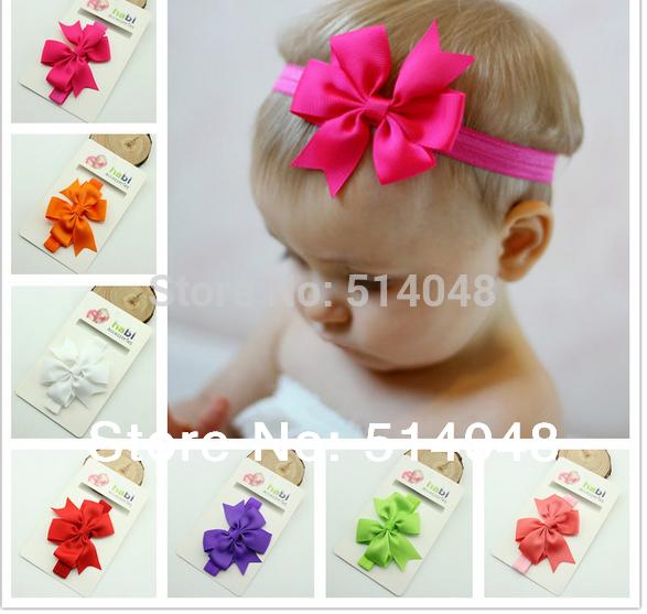 1pcs New Design Headband With Ribbon Bow Baby Elastic Headband Bow Hair Band Hair Accessory(China (Mainland))