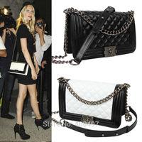 Genuine Lambskin Leather Baguette Handbag Shoulder Quilted Chain Cross Body Bag