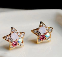 JD3028 Free shipping minimum order $10 (mix order) New arrival colorful crystal cute star stud earring for lady