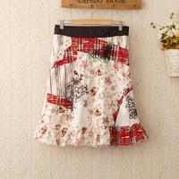 418 Top Sale!wholesale zipper waist cotton knee skirt 2014new flower embroidery lace skirts saia fashion all-match Women's skirt