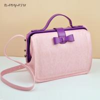free shipping  new arrival bow women's handbag genuine leather handbag candy color pink women's handbag vintage doctor bag