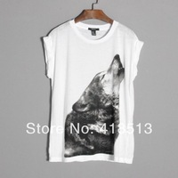 Ms cherry 2014 female summer women's Fashion  style roll-up sleeve hem short-sleeve T-shirt print wolf tee S,M,L