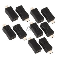 Black Mini 5pin Female to Micro USB Male USB Adapter Carry Convenient Pack of 10