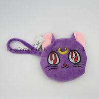 Free Shipping Anime Figure Pretty 30pcs Sailor Moon Artemis Wallet Purple Cat Coin Purse Plush Toy Doll Cartoon Small Bag