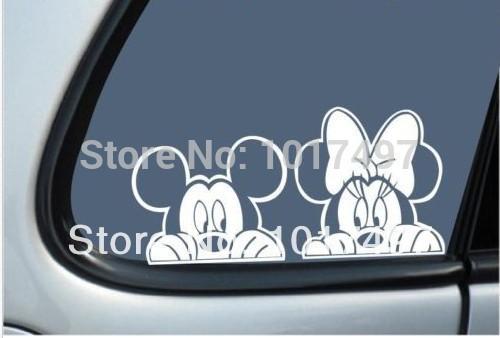 "2014 New Free Shipping Mickey & Minnie Mouse ""Peeking"" Vinyl Car Decal Sticker,Cute Kids cartoon car decals sticker,s2036(China (Mainland))"