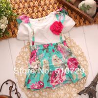 free shipping 2014 new baby dresses printed tutu skirt summer kids cute clothes girl flower suspend dress 4pcs/lot children wear