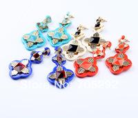 2014 New Fashion Vintage Luxury Statement Cross Stud Earrings For Women Jewelry  Free Shipping