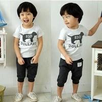 [1st Baby Mall] Retail 1 set baby girls/boys clothing sets short sleeve T-shirt+short pants puppy boy dog suits