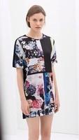 New Fashion Ladies' vintage floral print spliced Dress short sleeve casual dress slim evening brand designer dress