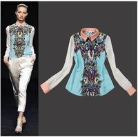 Free shipping New 2014 Spring Women Clothing Casual Chiffon Blouse Turn-down Collar Print Cool Transformers Full Sleeve Shirt