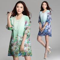Big Plus Size Dress Women clothing XXXL XXL XL Lily Flower Print Chiffon Cotton Women Dresses New Fashion 2014 Summer Dress