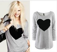 Free shipping DropShipping Fashion Women Love Heart Printed Round Neck Long Sleeve T-shirt Tops Shirt Tees