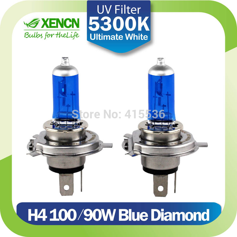 New XENCN H4 12V 100/90W 5300K Xenon Blue Diamond Car Light High Power UV Filter Halogen Super White Head Lamp More Bright bulbs(China (Mainland))