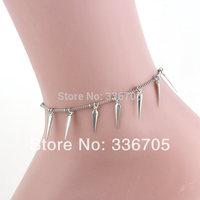 014New Arrival Free Shipping 10pcs/lot Fashion Lady's 17mm Needle Metallic Pendant  Anklets33004#