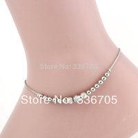 2014New Arrival Free Shipping 10pcs/lot Fashion Lady's 6mm Loving Heart Scrub Bead Metallic Anklets33007#