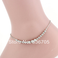 2014New Arrival Free Shipping 10pcs/lot Fashion Lady's 6mm Loving Heart Scrub Bead Metallic Anklets33007#