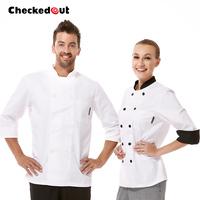 Free shipping 2014 Fashion Spring Autumn washable long-sleeve white chef clothing cook shirt chief uniform