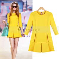 Free Shipping! 2014 New Fashion European Summer Women Sundress Hollow out Draped OL Large Size Plus Size Festa  Dress   182-0071