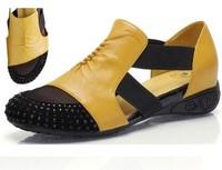 Women Sandals female flat heel rhinestone cutout elevator colorant match 2014 spring and summer sandal plus size shoes 40 - 41