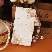 Luxury Rose Flower Bear Pendant Butterfly Tower Zebra Mirror Diamond Pearl Rhinestone Flip Leather Case for Apple iPhone 5 5S