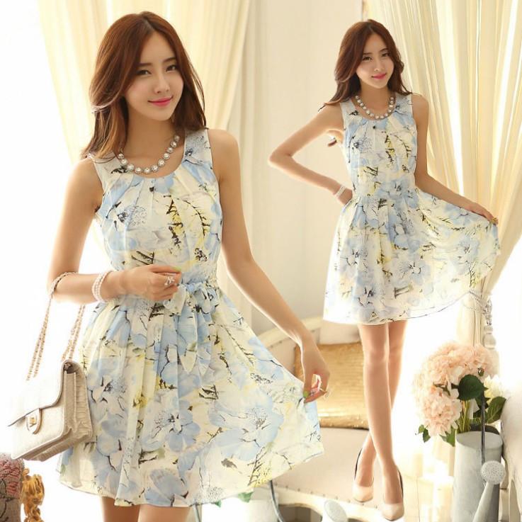 new 2014 chiffon pleated dress cute women summer wear sleeveless fit ol dress with belt ladies sweat dress clothing print floral(China (Mainland))