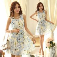 new 2014 chiffon pleated dress cute women summer wear sleeveless fit ol dress with belt ladies sweat dress clothing print floral
