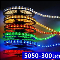 Indoor DC 12V 5M 5050 SMD 300 Led 60 led/m LED Strip Strips Light Line Tape white/warm white/blue/green/red/yellow Wholesale 24W