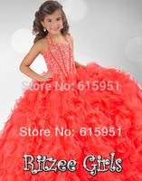 Hot Sale 2014 Halter Neckline Flower Girls Gown Beaded Bodice Sequined Heavy Ruffles Little Girls Pageant Dresses Gown JY025