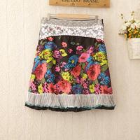 428 Hot-selling! 16 models! 2014 Women Fashion Neon Flower Lace Pleated knee length Cover Skirt female High waist skirt