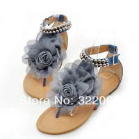 free shipping 2014 New chiffon fabric flowers with flat sandals shoes clip toe shoes Korean girls hit the flower color