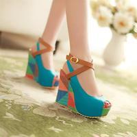 Fashion sexy wedding Women's Wedges Shoes High Heels Platform Open Toe Ankle Straps Sandals Summer Pumps